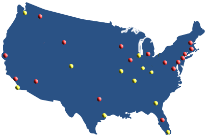 Map of USA with OAC cities